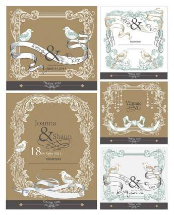 Europeanstyle lace ribbon bird vector