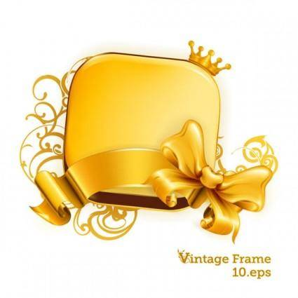 free vector Gold crown ribbon bow vector