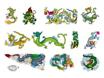 free vector Chinese classical dragon vector of the nine