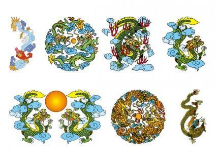 free vector Chinese classical dragon vector of the three