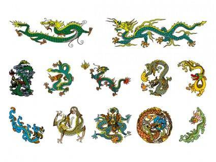 free vector Chinese classical dragon vector of the four