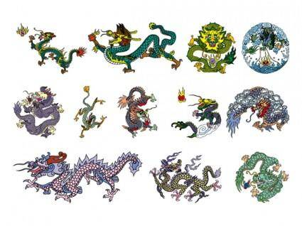 free vector Chinese classical dragon vector of the six