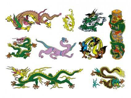free vector Chinese classical dragon vector of the seven