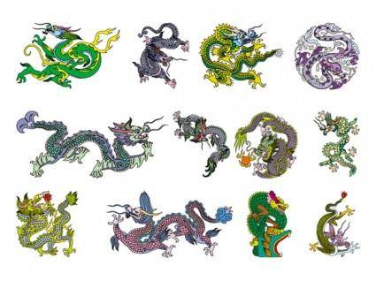 free vector Chinese classical dragon vector of the eight