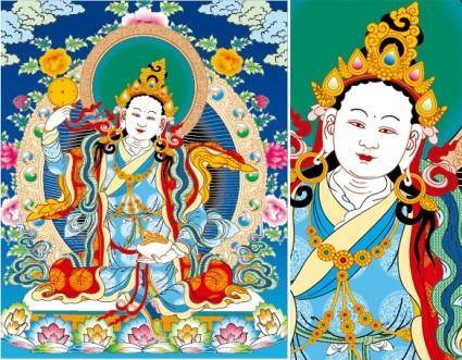 free vector Tibetan thangka three rows of empty lotus female ai vector