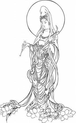 free vector Merciful bodhisattva vector tracing