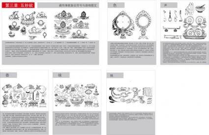 free vector Tibetan buddhist symbols and artifacts diagram of the three five wonderful lust vector