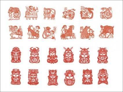 Zodiac of papercut vector b