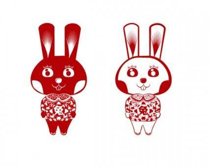 free vector Papercut rabbit rabbit vector