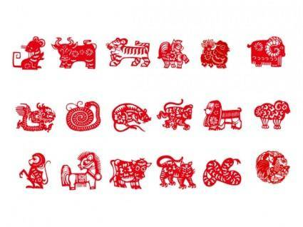 free vector Vector of the nine chinese traditional papercut animals