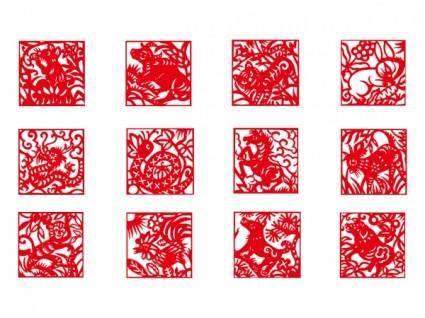 Zodiac papercut vector