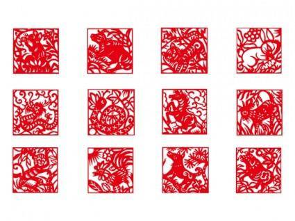 free vector Zodiac papercut vector