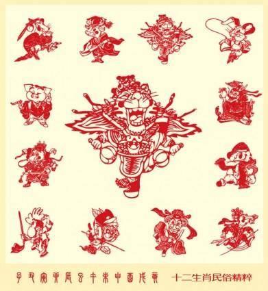 free vector Papercut style of beijing opera 12 zodiac vector
