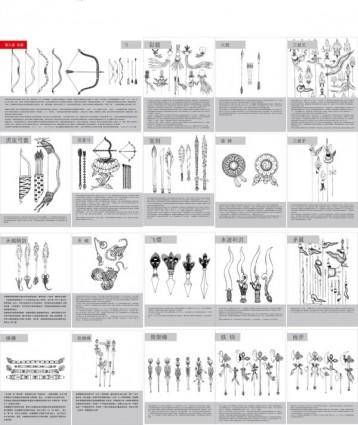 free vector Tibetan buddhist symbols and objects map of the nine weapons vector