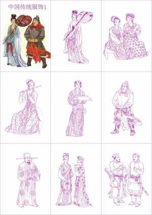 free vector Chinese traditional clothing vector 1