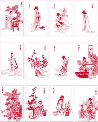 free vector Twelve beauties of jinling vector dream of red mansions