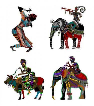 Exquisite decorative painting series two ethnic style vector