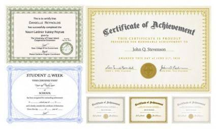 free vector Six certificate design vector