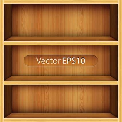 free vector Solid wood bookshelves vector 1