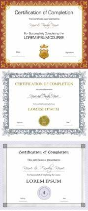 free vector Three certificate design vector