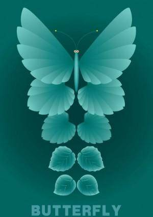free vector Leaves and butterflies vector