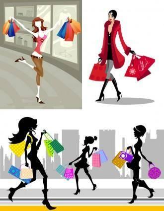 free vector Shopping fashion figures vector