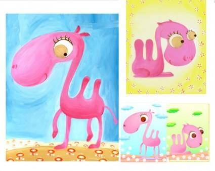 free vector Vector pink camel