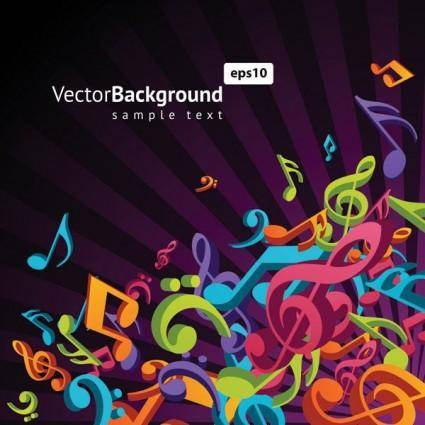 Theme music notes vector 3