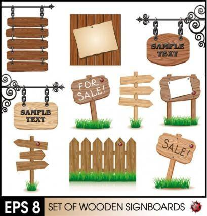 Wood signs 02 vector