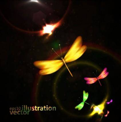 free vector Colorful dragonfly vector