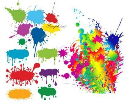 Color ink droplets graffiti vector