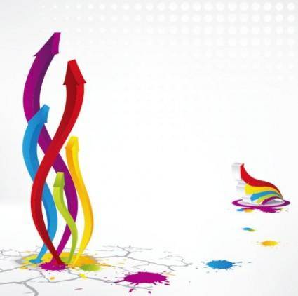 free vector Colorful threedimensional arrow vector
