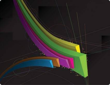free vector Color threedimensional dynamic lines of the vector