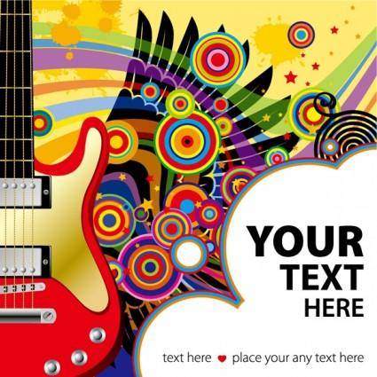 Vector colorful wings guitar music