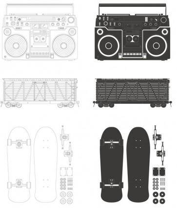 Radio container skateboard vector
