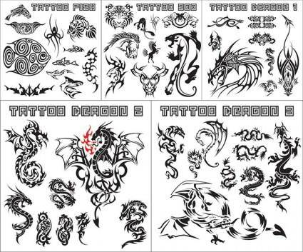 free vector Variety of animal totem vector