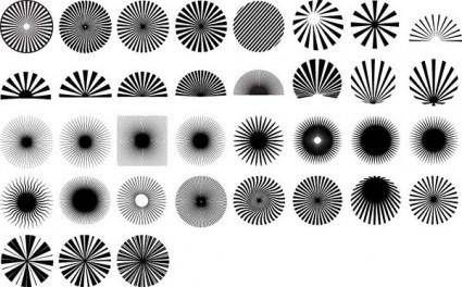 Series of black and white design elements vector 13 radiation