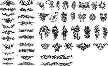 free vector Series of black and white design elements vector 15 totem