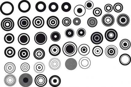 Black and white design elements vector series 1 simple round
