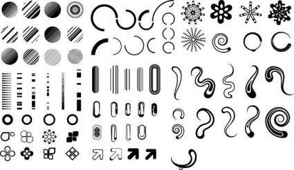 Series of black and white design elements vector 3 simple graphics