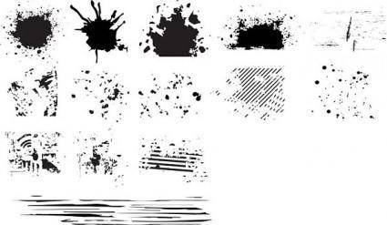 Series of black and white design elements vector 6 ink dots