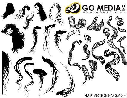 Go media produced vector female hair series