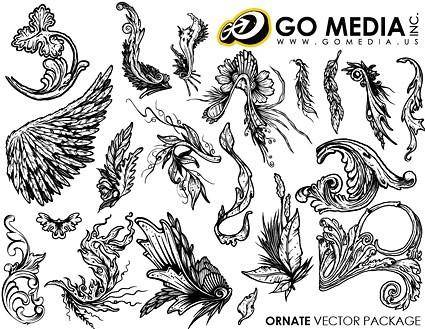 free vector Go media produced vector continental and lace wings