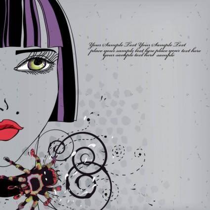 Beautiful handdrawn fashion illustration 02 vector