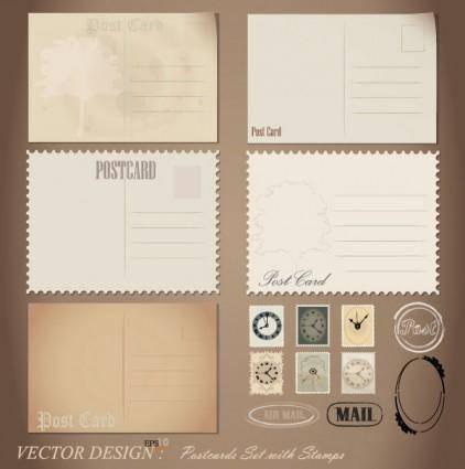 free vector Retro postcard 01 vector