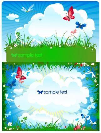 free vector Butterfly meadow cloud vector