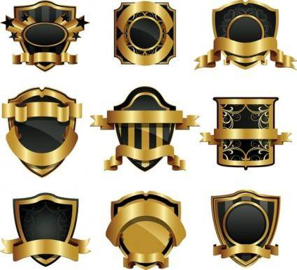 free vector Gold shield badge vector