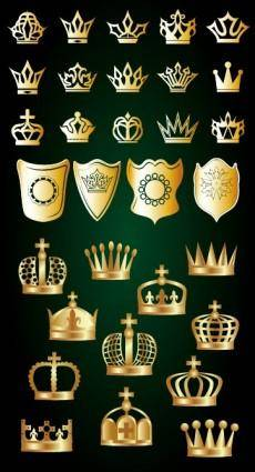 free vector Gold crown and shield vector
