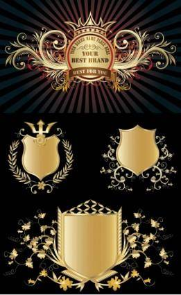 Several gold shield badge vector