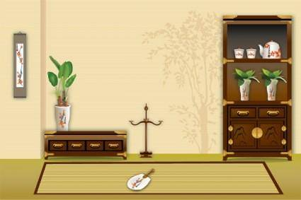 free vector Vector display of chinese classical house